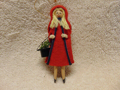 Vintage Little Red Riding Hood Homemade Christmas Ornament