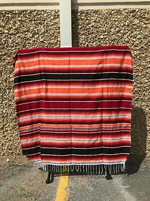 Serape XXL,5' X 7',Mexican Blanket,HOT ROD, Seat Covers,Motorcycle, ORANGE RED
