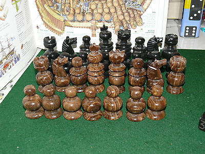 Vintage Chess Pieces Stone Marble Set Of 31 Hand Carved.
