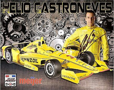 2016 HELIO CASTRONEVES signed PENNZOIL INDIANAPOLIS 500 PHOTO CARD INDY CAR hero