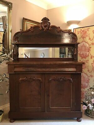 Antique Victorian Mahogany Chiffonier Sideboard Cupboard with Mirror PICKUP NG23