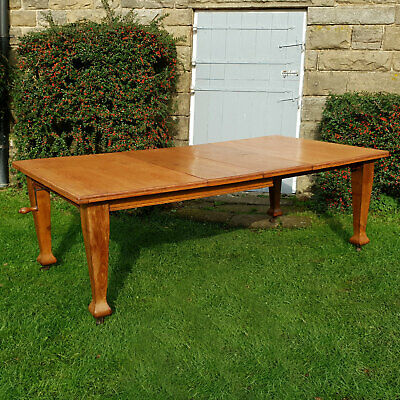 """Arts & Crafts 7'6""""x 4' Large Oak Extending Country Kitchen Dining Table C1900"""