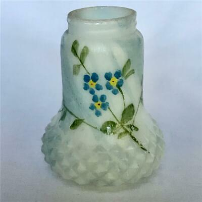 Antique White Blue Slag Glass Hand Painted Salt Shaker Possibly Mt. Washington