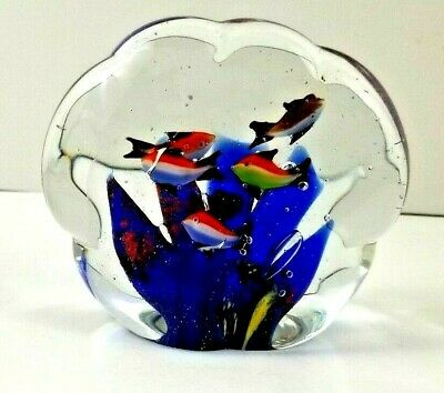 Vintage Murano Aquarium Sculpture Paperweight Art Glass 6 Fish