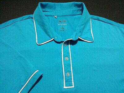 Adidas PureMotion Mens XL Short Sleeve Solid Blue Athletic Polo Golf Shirt