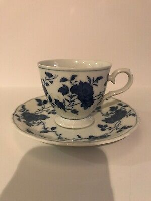 Royal Meissen Fine China Teacup and Saucer Blue and White Floral - Japan