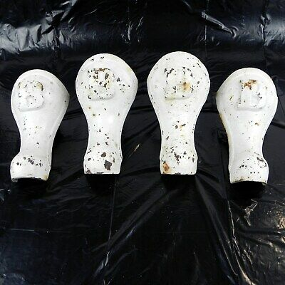 Antique Vintage Cast Iron Tub Feet White Set of 4 Letter B