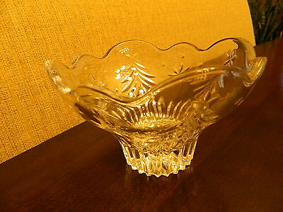"Gorgeous Mikasa 6"" Footed Clear Glass Bowl Holiday Christmas Tree Candy Dish"