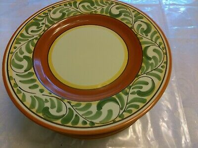 Pier 1 Italy Green Scrolls Orange Band Italian Umbrina Pottery  Salad plates 6
