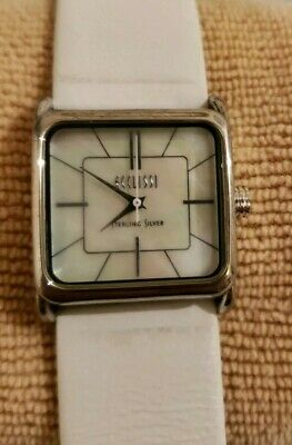 Ecclissi Sterling Silver Mother of Pearl Leather Ladies Watch New Battery