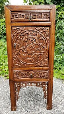 """Exceptional Antique Chinese Carved Yumu Wood Dragon Cabinet 34"""" Tall"""
