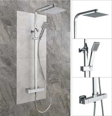New Thermostatic Shower Mixer Square Chrome Bathroom Exposed Twin Head Valve Set