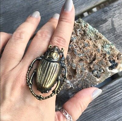 Vintage Egyptian Scarab Bronze Finish Ring Size 6