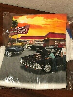 IN-N-OUT BURGER -California - Muscle car art T-shirt (size XL) White NEW