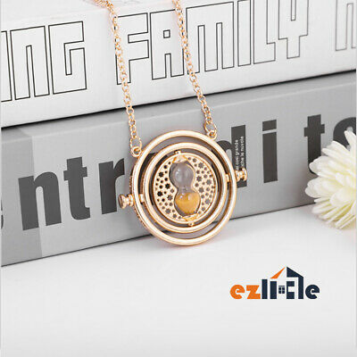 Harry Potter Rotating Hermione Time Turner Necklace Gold Hourglass Granger Spins