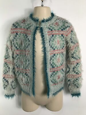 Girls Fat Face Blue/Grey Pink Patterned Open Cardigan Fluffy Long Sleeve 6-7 Yr