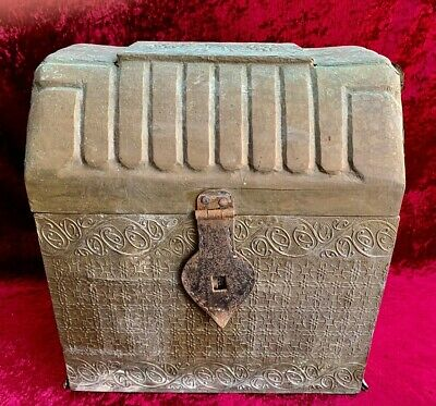 Antique Decorative Brass and Timber Wood Treasure Chest Trunk Wine Bottle Box
