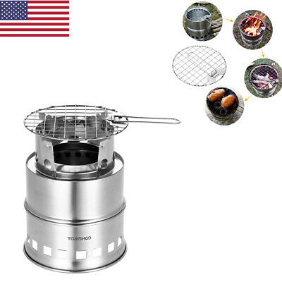 Outdoor Camp Portable Folding Windproof Stainless Steel Wood Burning Stove I0V5