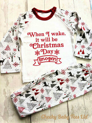 When I Wake Children's Christmas pyjamas PJs,Any name,3-4 and 4-5 yrs, Boy/Girl