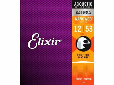 Elixir NANOWEB 80/20 Bronze Acoustic Guitar Strings  12- 53