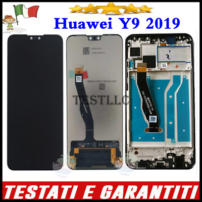 Display Lcd Per Huawei Y9 2019 Vetro Touch Screen Schermo Con Frame Nero