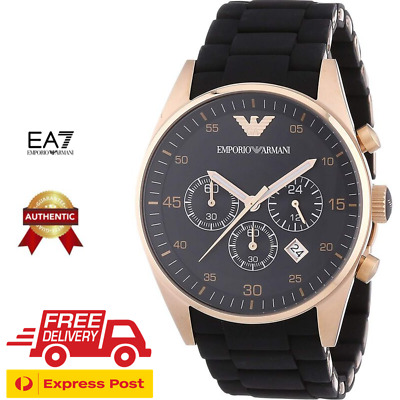EMPORIO ARMANI AR5905 Men's Rose Gold & Black Stainless Steel Chronograph Watch