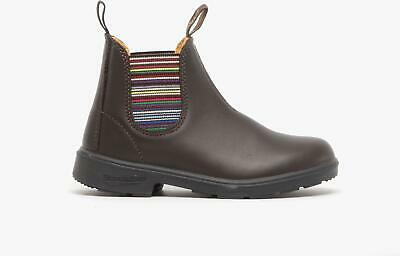 Blundstone 1413 Kids Boys Girls Leather Slip On Chelsea Ankle Boots Brown Stripe