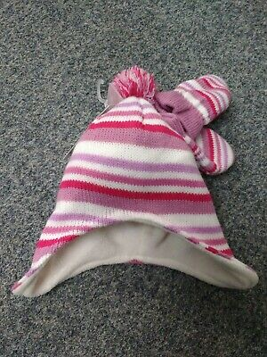 Baby Girls Pink Hat + Mitts Winter Striped/ pom-pom Knitted 6-12mths