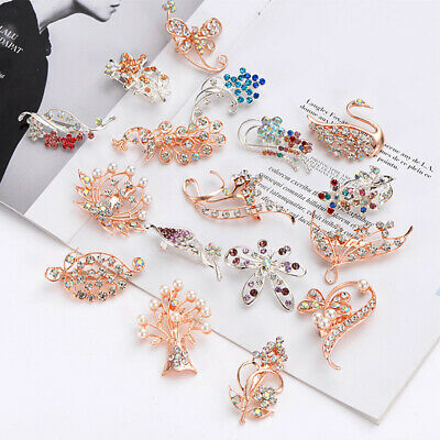 SN_ KE_ ITS- New Floral Peacock Women Sparkling Rhinestone Brooch Pin Hat Clot