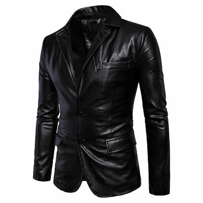 Men Blazer Style Two Button Real Leather Jacket - Black Coat Jacket