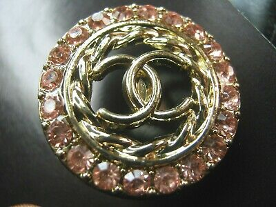 CHANEL  1 CC  LOGO PEACH CRYSTALS, MATTE GOLD  23mm BUTTON THIS IS FOR ONE