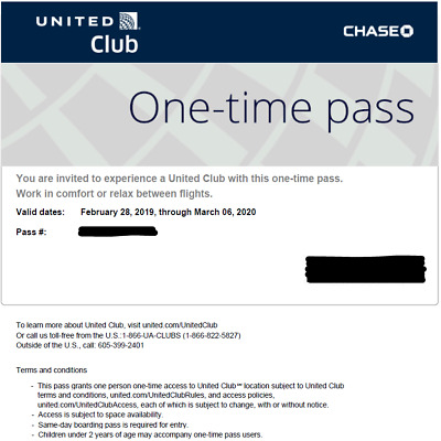 United Airlines UA Club One-Time Pass E-Delivery in 2 hours (Expires Nov 2019)