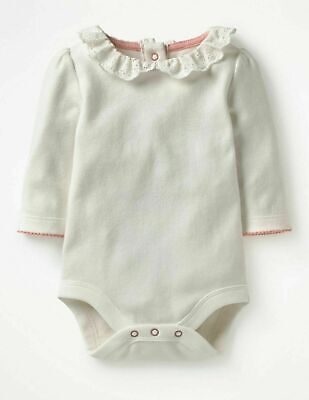 £18  New Mini Boden Baby Supersoft Pretty Peter Pan Collar Bodysuit Body
