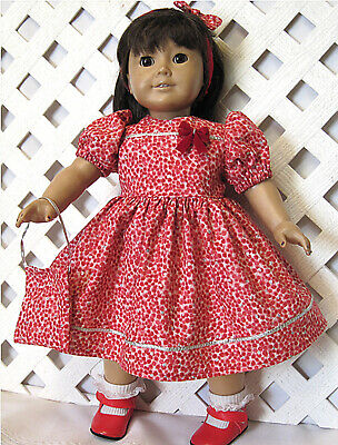 """HANDMADE Doll Clothes Fits 18"""" American Girl Doll CHRISTMAS RED SILVER DOT DRESS"""