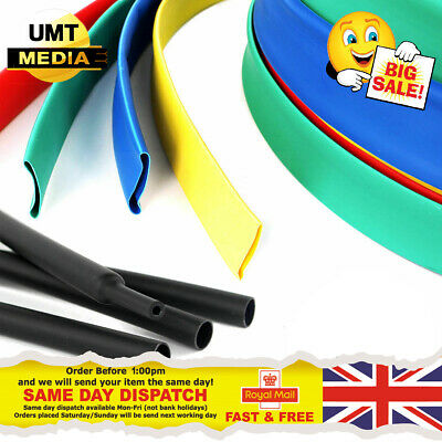 Heat Shrink 2:1 Tube Tubing Sleeve Sleeving Black Red Blue Green Yellow 1 - 50mm