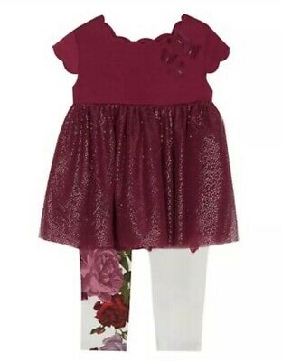 Ted Baker Rose Outfit Top (tunic/dress style) & Leggings 3-6 Months NEW RRP £35