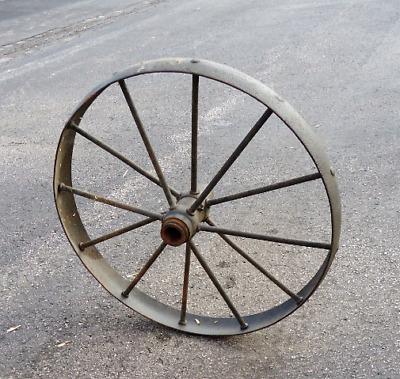 antique wagon carriage wheel large metal cast iron,yard garden primitive 26""