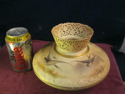 Rare Antique Big Royal Worcester Blush Ivory Pierced Vase Hand Painted Swallows