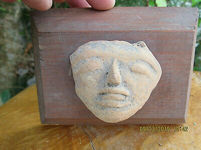 """AUTHENTIC~Pre-Columbian Mayan """"MOUNTED""""~ Head Fragment ARTIFACT"""