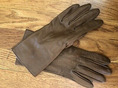 J Crew Cashmere-lined leather tech gloves Size M Brown