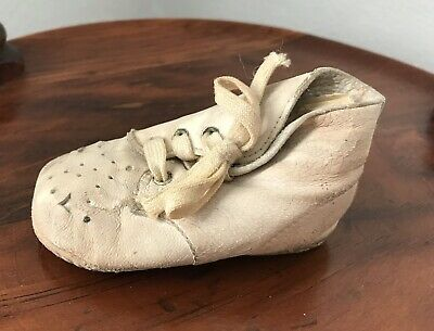 Antique Single White Leather Baby Shoe Lace Up