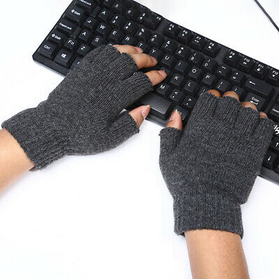 Men Knitted Wool Fingerless Half Finger Mittens Riding Warm Gloves Out/Indoor
