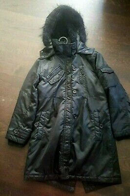 Girls Next Black Coat with Hood - Size 9 -10 Years