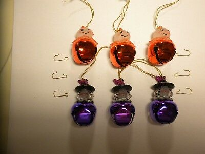 Lot of 3 Each - Roman Halloween Pumpkin & Witch Jingle Bells Ornaments