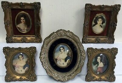 A Cameo Creation Lot of 5 Lady Portraits in Ornate Gold Frames for wall