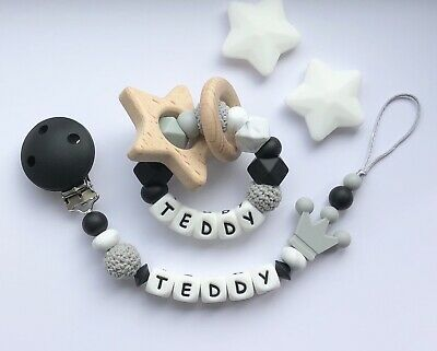 Personalised Dummy Clip And Teether Set -Pacifier Clip - Soother Clip - Gray