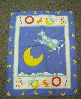 Adorable new baby crib quilt Cow Jumped over Moon Spoon Nursery Rhymes