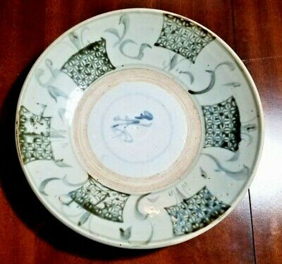 Chinese Large Antique Swatow Blue Green White Porcelain Plate Bowl Ming Dynasty
