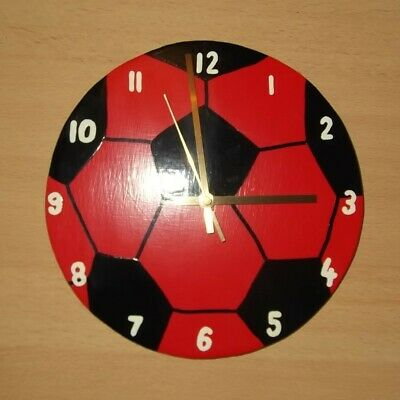 Large Black and Red Football Clock 26cm
