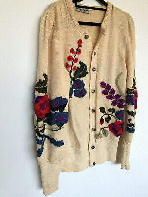 Vintage 80s cream wool cardigan w huge sleeves and embroidered flowers XL 14-16